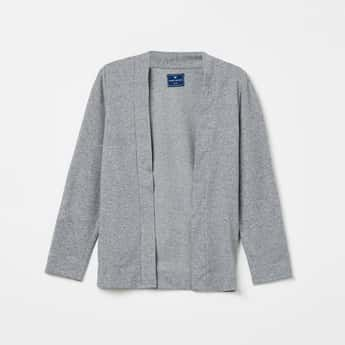 FAME FOREVER YOUNG Textured Full Sleeves Cardigan
