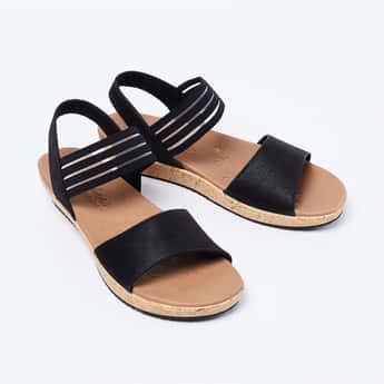 SKECHERS Solid Open-Toe Flatforms