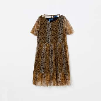 FAME FOREVER YOUNG Leopard Print Semi-Sheer A-line Dress