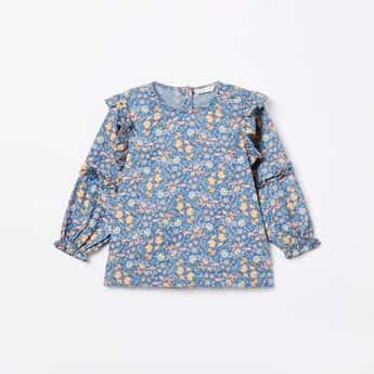 BOSSINI Floral Printed Blouson Sleeves Top