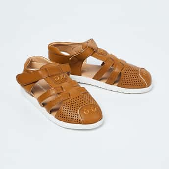 FAME FOREVER Perforated Slingback Sandals with Velcro Closure