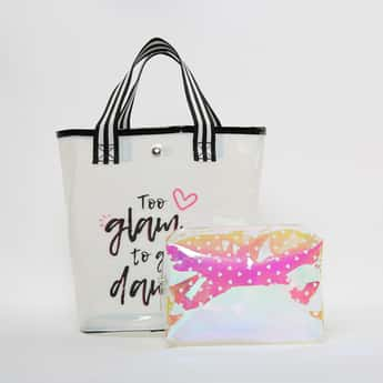 GINGER Typographic Print Tote Bag with Pouch