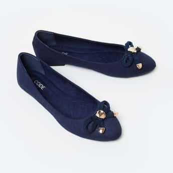 CODE Bow Embellished Ballerina Flats