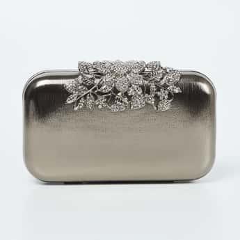 CODE Embellished Box Clutch