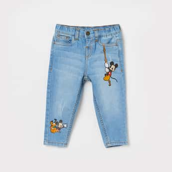 JUNIORS Boys Mickey Mouse Print Slim Fit Jeans