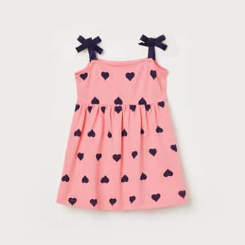 JUNIORS Girls Printed A-line Dress with Strappy Sleeves
