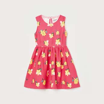 JUNIORS Girls Floral Print Sleeveless Fit and Flare Dress