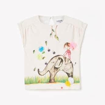 JUNIORS Girls Graphic Print Top with Extended Sleeves
