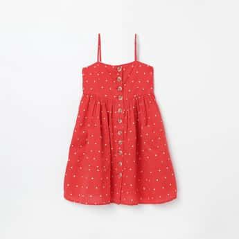 FAME FOREVER YOUNG Polka Print Butto-Down A-line Dress