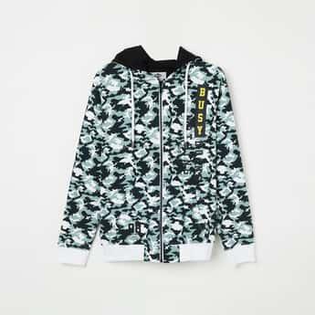 LEE COOPER JUNIORS Camouflage Print Hooded Sweatshirt