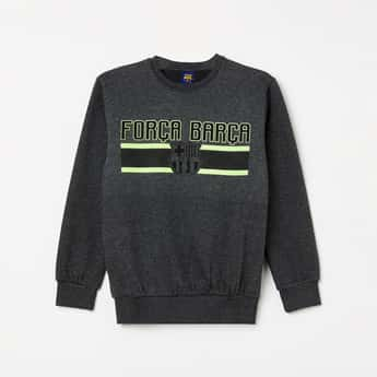FC BARCELONA Typographic Print Full Sleeves Sweatshirt