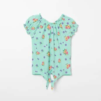 FAME FOREVER YOUNG Floral Print Top with Puff Sleeves