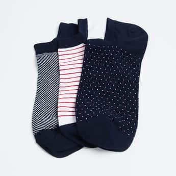 FORCA Men Patterned Knit No-Show Socks - Pack of 3