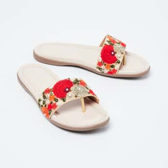INC.5 Floral Embroidery Flat Sandals with Beads