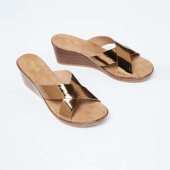 INC.5 Textured Wedges with Criss-Cross Straps