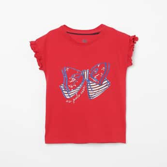 U.S. POLO ASSN. KIDS Printed Ruffled Detail Extended Sleeves Top