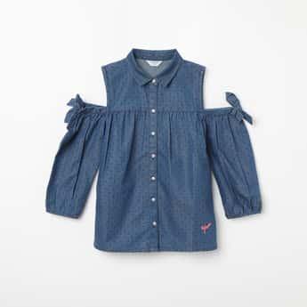 U.S. POLO KIDS Cold-Shoulder Sleeves Printed Dress