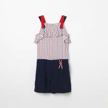 PEPPERMINT Striped Cold-Shoulder Playsuit