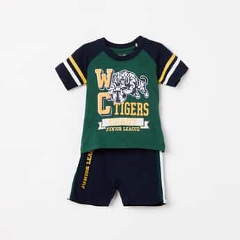 JUNIORS BASICS Boys Printed T-shirt with Shorts Set