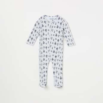 JUNIORS Boys Printed Sleepsuit with Button Placket