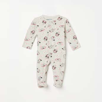 JUNIORS BASICS Girls Printed Sleepsuit with Button Placket