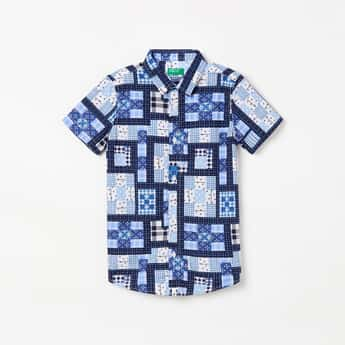 UNITED COLORS OF BENETTON Boys Printed Short Sleeves Casual Shirt