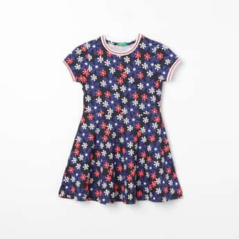 UNITED COLORS OF BENETTON Printed Flared Dress