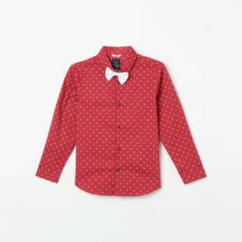 ALLEN SOLLY Printed Casual Shirt with Bow Tie