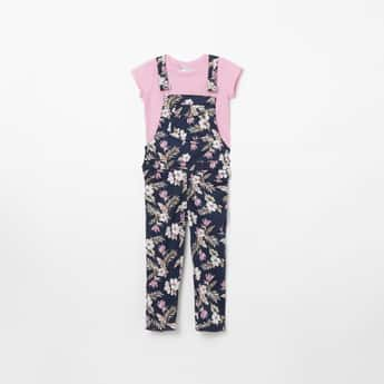 PEPPERMINT Floral Print Dungarees with Solid T-shirt