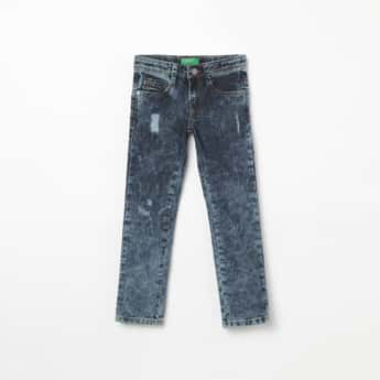 UNITED COLORS OF BENETTON Heavy Washed Distressed Jeans