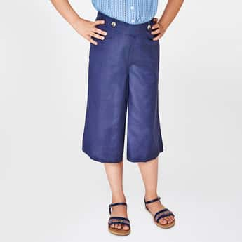 GLOBAL DESI Solid Culottes with Scoop Pockets