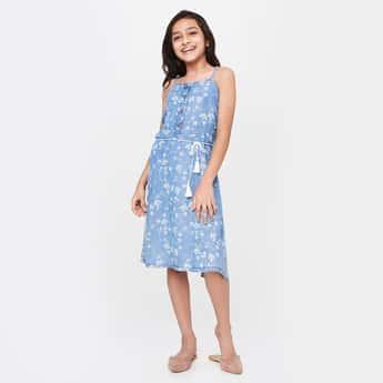 GLOBAL DESI Printed Tie-Up Waist A-line Dress