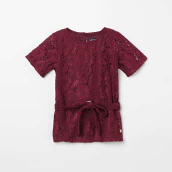 ALLEN SOLLY Lace Detail Short Sleeves Top