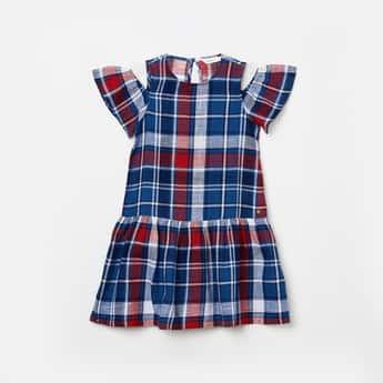 BOSSINI Girls Checked Cold-Shoulder Drop-Waist Dress