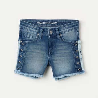 PEPE JEANS Girls Stonewashed Denim Shorts