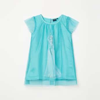 JUNIORS Girls Printed Cap Sleeves Layer Dress