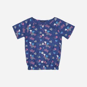 ALLEN SOLLY Printed Blouson Top with Raglan Sleeves