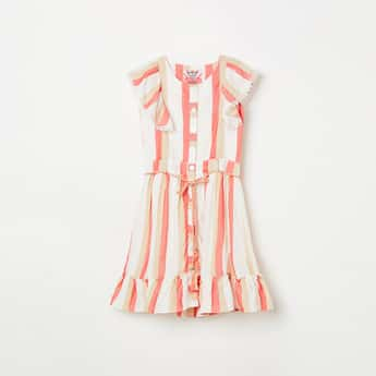 PEPPERMINT Girls Striped A-line Dress with Ruffle Detail