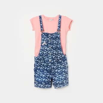 PEPPERMINT Girls Printed Dungaree and a Solid Top