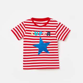 JUNIORS Boys Striped Crew Neck T-shirt