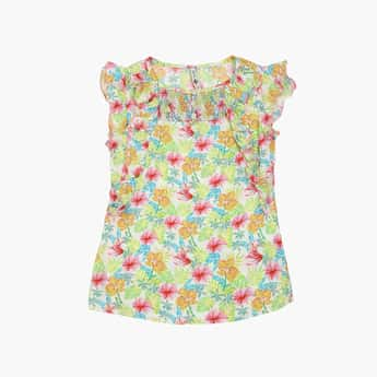 LEE COOPER JUNIORS Girls Floral Print Top with Flutter Sleeves