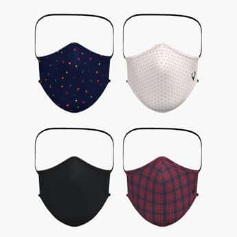 ALLEN SOLLY Men Printed Reusable Face Mask - Pack of 4