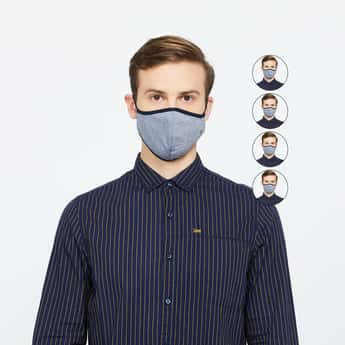 LOUIS PHILIPPE Men Textured 3-Layered Reusable Face Masks - Pack of 5