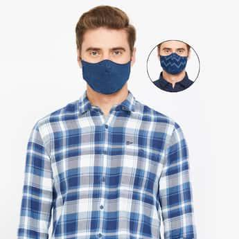 JACK & JONES Men Textured 3Ply Assorted Anti-Viral Masks - Pack of 2