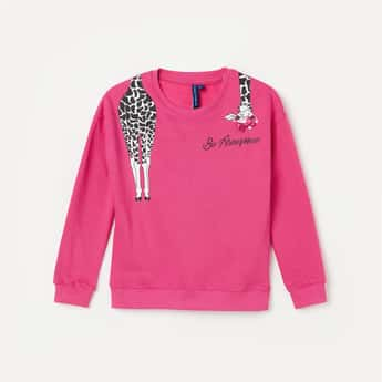FAME FOREVER KIDS Girls Graphic Print Sweatshirt with Bow
