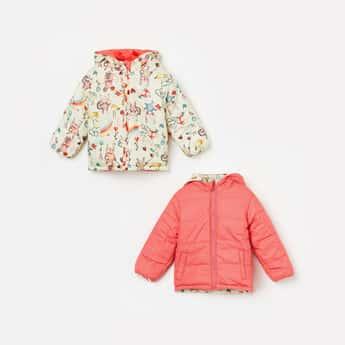 JUNIORS Girls Printed Reversible Hooded Bomber Jacket