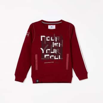 MONTE CARLO Boys Typographic Print Full Sleeves Sweatshirt