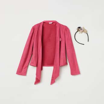 PEPPERMINT Girls Solid Front Open Shrug with Hair Band