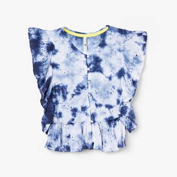LEE COOPER JUNIORS Girls Schiffli Embroidery Dyed Top with Button Placket