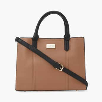 TONIQ Women Textured Tote Bag with Rolled Handles